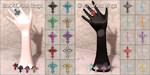 Black & Silver Cross Rings