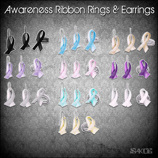 Awareness Ribbon Rings&Earrings for Fashion for Life 2013