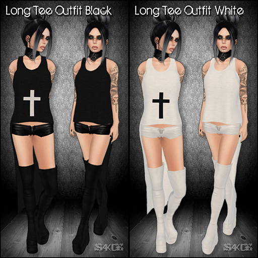 Long Tee Outfits Black & White for The 100 Block