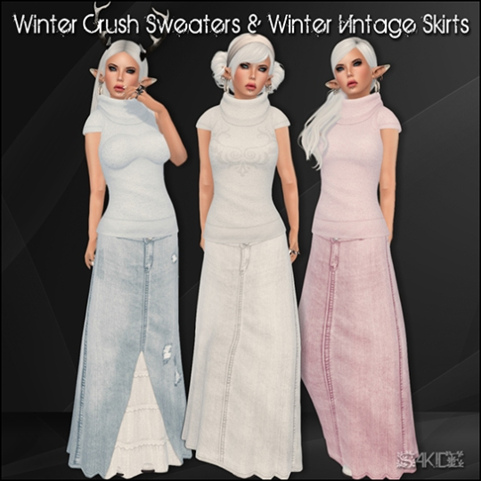 Winter Crush Sweaters and Vintage Denim Skirts