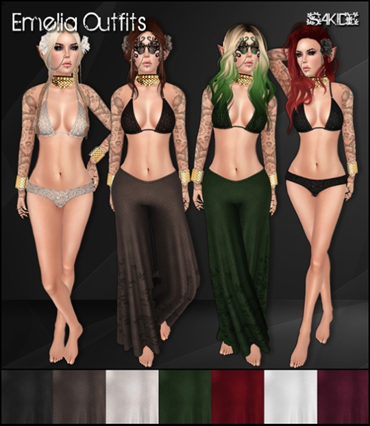 Emelia Outfits for The Fantasy Collective