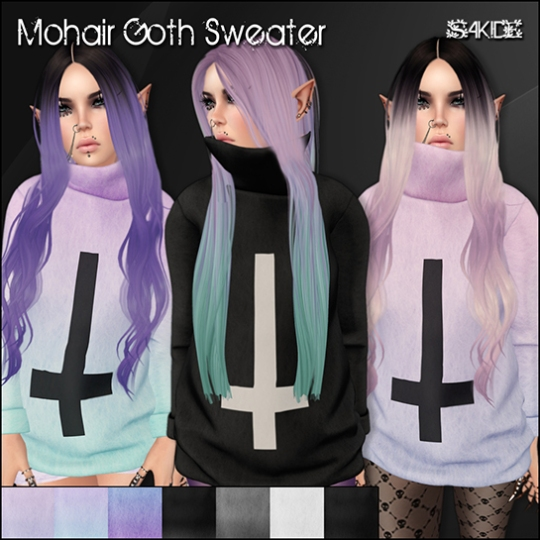 Mohair Goth Sweater for Pastel Goth Fair
